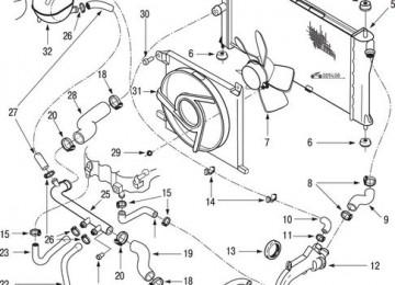 Схема системы охлаждения Дэу Эсперо