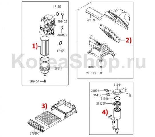 Топливный фильтр для Киа Соренто 2