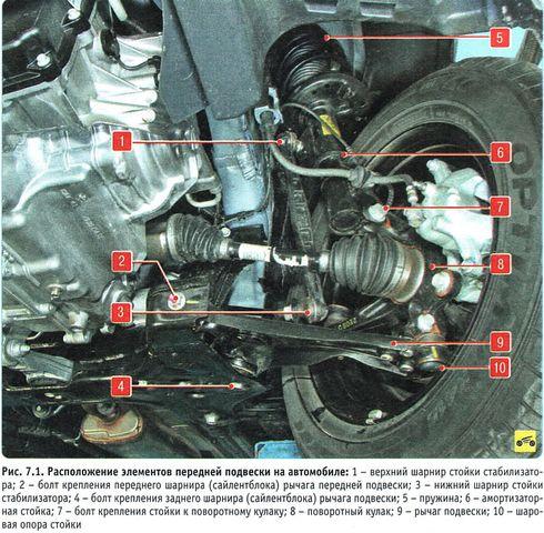 Конструкция передней подвески Шевроле Авео