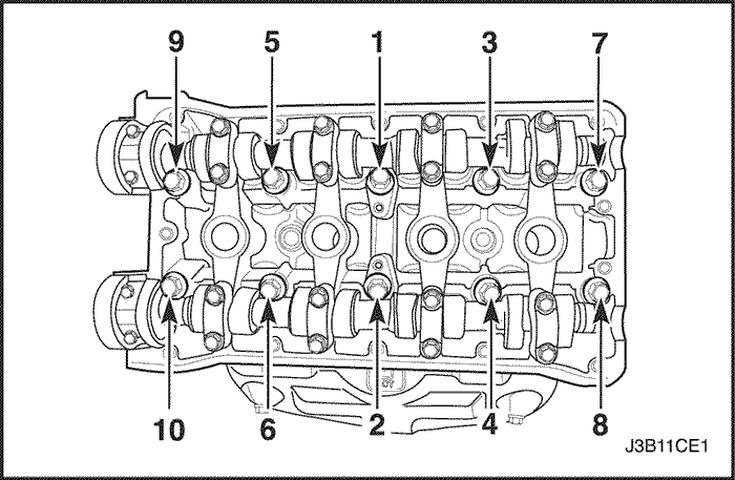 Схема затяжки болтов клапанной крышки двигателя Лачетти