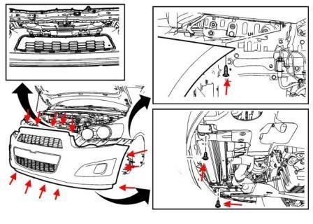 Процесс демонтажа переднего бампера Шевроле Авео