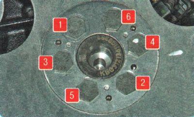 Схема затяжки диска вращения коленвала Chevrolet Aveo