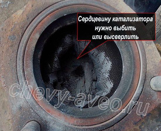 Внутренняя часть катализатора Шевроле Авео