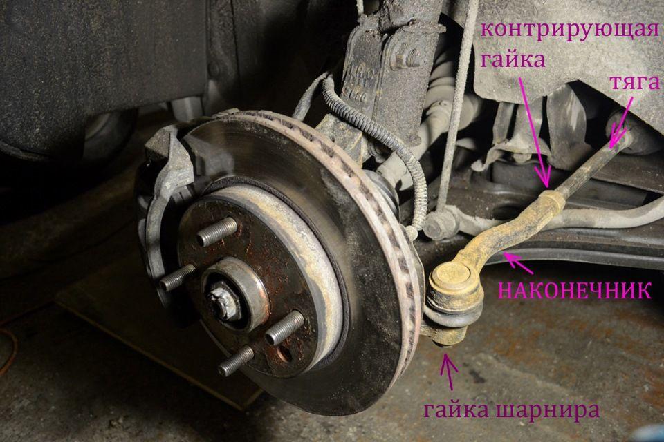 Схема крепления рулевого наконечника Находим и откручиваем гайку крепления рулевого Шевроле Лачетти