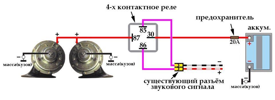 Схема подключения звукового сигнала Киа Сид