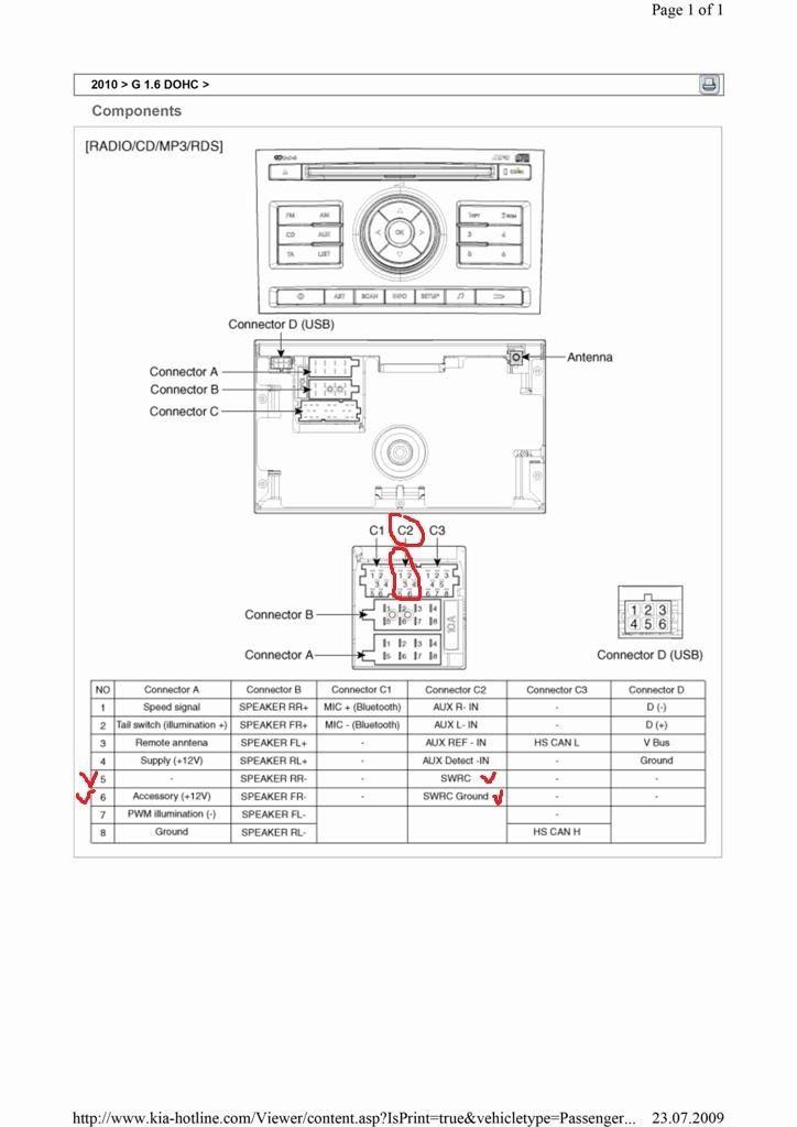 Схема подключения магнитолы Kia Ceed